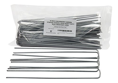Pinnacle Mercantile 10 Inch Galvanized Garden Staples/Stakes/Pegs Heavy Duty Rust Resistant Steel Pack of 25