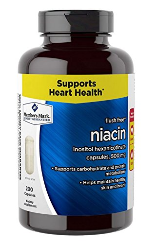 Member's Mark - Flush Free (B3) Niacin Inositol Hexanicotinate 500 mg, 200 Capsules