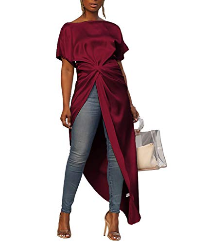 Ophestin Women's Casual Basic Blouse Short Sleeve Drawstring Summer High Low Shirt Blouse Top Wine Red M