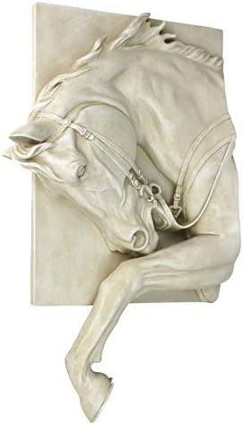 Design Toscano Prancing Steed Horse Wall Sculpture, Antique Stone
