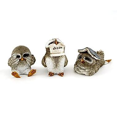 Top Collection Miniature Fairy Garden & Terrarium Cute Little Owls Statue (Set of 3), Small