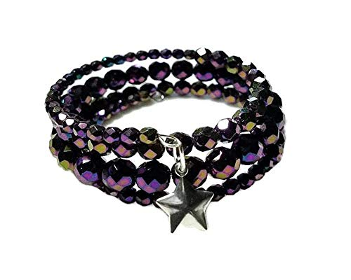 Purple Memory Wire Bracelet with Sterling Silver Puffed Star Charm and Czech Fire Polished Beads, Wrap Around Bracelet, Wraps 3-1/2 Times