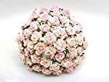 50 pcs. Pink White Color Rose Mulberry Paper Flower Craft Handmade Wedding 10 mm. Scrapbook for so Many Card Craft Projects