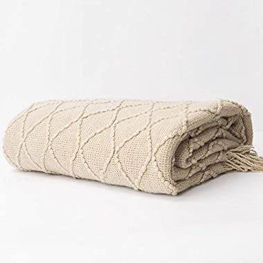 Battilo Knit Diamond Patterned Throw Blanket, 50  W by 60  L, Beige