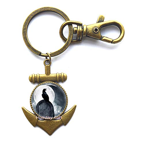 Crow Anchor Keychain Bird Key Ring Black Bird Jewelry Animal Key Ring Raven Anchor Keychain Bird Lover Gift Jewelry Animal,H116 ()