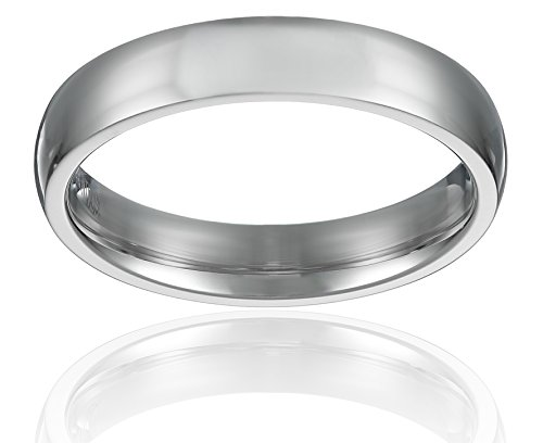 4MM Stainless Steel Womens Rings High Polished Classy Domed Comfort Fit Wedding Bands