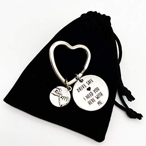 Drive Safe I Need You Here with Me Stainless Steel Keychain For boyfriend Husband dad Son Daughter Valentine's Day Father's Day birthday Christmas Gifts