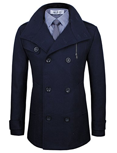 Tom's Ware Men's Stylish Wool Blend Pea Coat TWCC05LQ-C08-NAVY-US (Us Navy Style Mens Peacoat)