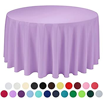 VEEYOO 120 Inch Round Solid Polyester Tablecloth For Wedding Restaurant  Party, Lavender