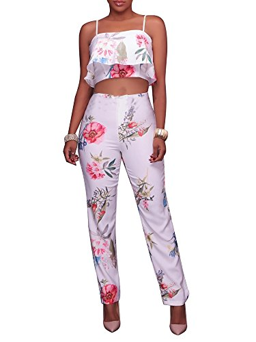 (Women's Floral Print Sleeveless Strap Top Casual Bodycon Stretch High Waist Long Pants 2 Pieces Jumpsuit)