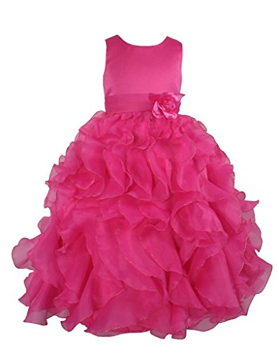 Satin & Organza Party Bridesmaids/Flower Girl Dress Hot Pink 6 Years (F232-6#)