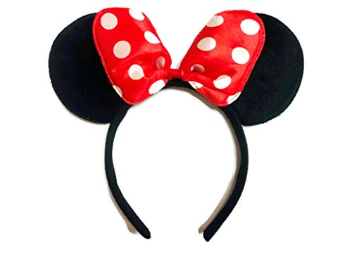 MeeTHan Minnie Mouse Ear Headband: M4 (White Dots-Red) ()