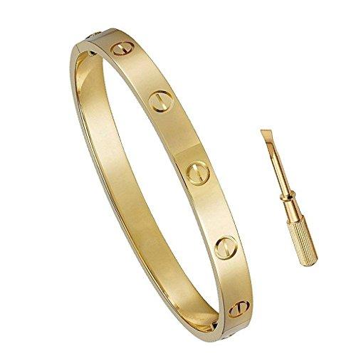 Designer Inspired Birthday Gift for Him Love Bracelet- Titanium Steel Screw Hinged Cuff Bangle Bracelet Yellow Gold 7.5IN