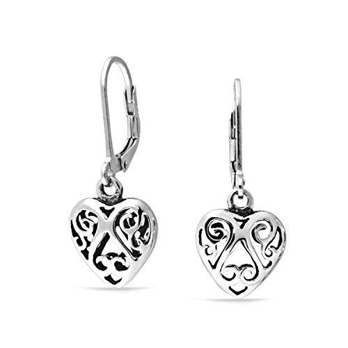 Open Heart Shaped Filigree Swirl Leverback Dangle Earrings For Women Girlfriend Oxidized 925 Sterling Silver