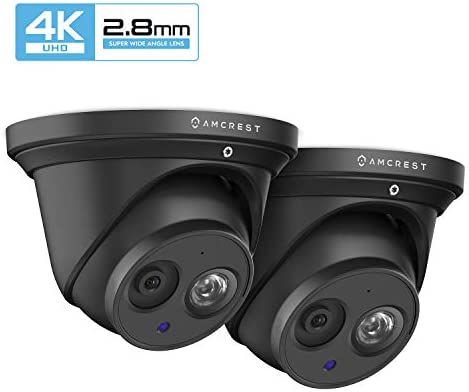 2-Pack Amcrest UltraHD 4K 8MP Outdoor Security IP Turret PoE Camera