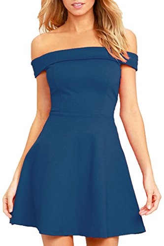 Sexy Dress For Teens (Zalalus Women's Cocktail Party Dress Off Shoulder Summer Casual Solid Fit and Flare Skater Dress Blue X-Small US 0 2)