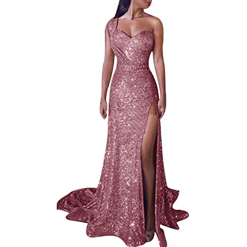 Softmusic Women Dress Sexy Club Party Plus Size Sequined One Shoulder Split Maxi Evening Dress Pink L