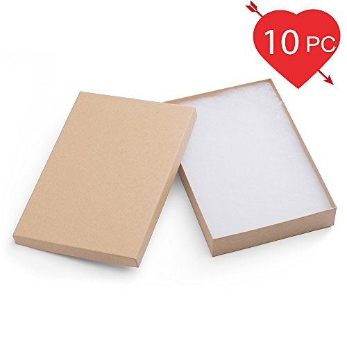 MESHA Cardboard Paper Box for Jewelry and Gift 8x5.5x1.25 Inch Thick Natural Paper Box With Cotton Lining, pack of 10