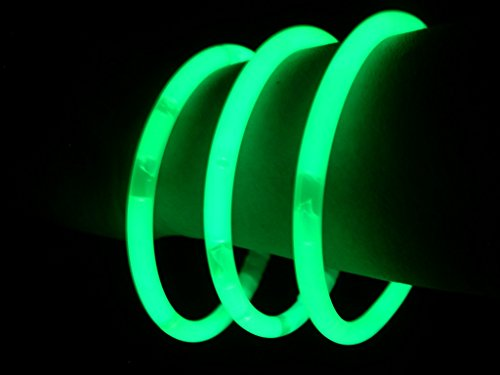 "(Glow Sticks Bulk Wholesale Bracelets, 100 8"" Green Glow Stick Glow Bracelets, Bright Color, Glow 8-12 Hrs, 100 Connectors Included, Glow Party Favors Supplies, Sturdy Packaging, GlowWithUs)"
