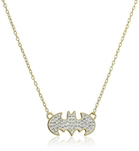 DC+Comics Products : DC Comics 18k Gold Over Silver Batman Crystal Pendant Necklace, 18''