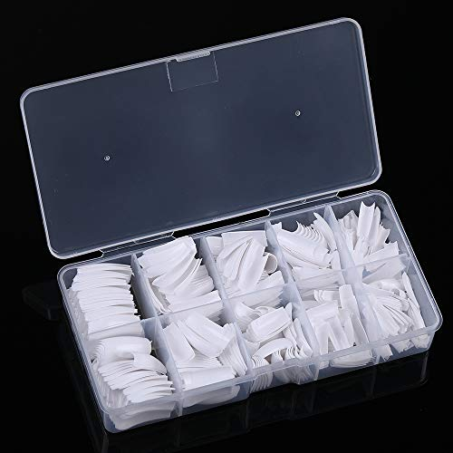 Yimart 500pcs White French Acrylic Style Artificial False Nails Tips With Box (White)