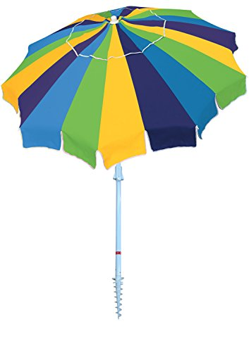 Rio Beach 7′ Beach Umbrella with Integrated Sand Anchor, Multi Stripe For Sale