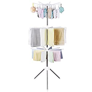 Lifewit Foldable Clothes Drying Rack Portable 3-Tier Clothes Hanging Rack with 24 Clips for Drying Socks, Baby Clothes, Cloth Diapers, Bras, Towel, Underwear, Scarf, Gloves