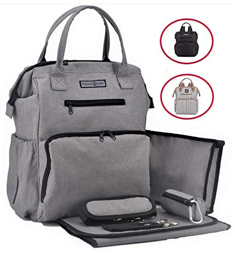 Rascal Gear Grey Baby Diaper Bag Backpack, Tote, Shoulder or Cross Body with Insulated Bottle Pockets, Stroller Straps, Changing Pad, Wet Bag; Machine Washable; Multipurpose; Waterproof;