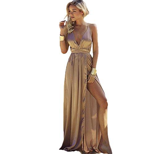 - Bangni high Split Maxi Dress Solid Satin Sexy Evening Party Clubwear Spaghetti Strap Dresses