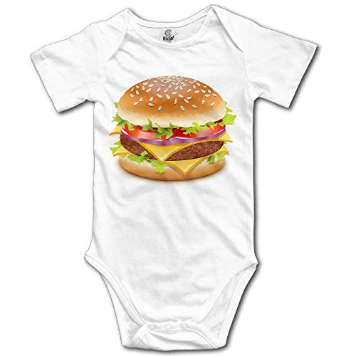 Wishesport FUNINDIY Cheeseburger Cute Baby Onesie Bodysuit White ()