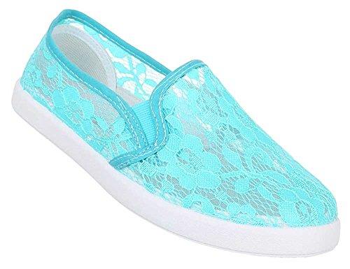 Damen Schuhe Halbschuhe Flache Slipper Bequeme Sommer Schlupfschuhe Türkis