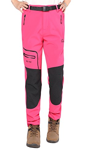 BenBoy Women's Outdoor Waterproof Windproof Fleece Cargo Snow Ski Hiking Pants,SF1602W Deep Pink M