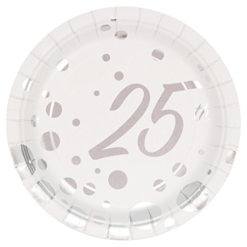 - Creative Converting 317848 8 Count 25th Anniversary Paper Dessert Plates, 7