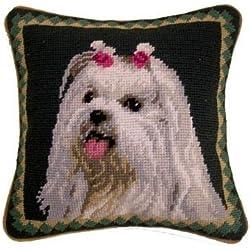 Maltese Needlepoint Pillow 1