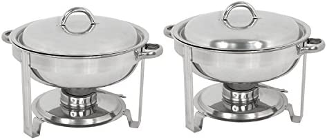 Deluxe Stainless Steel Chafing Dish Round Chafer with Lid 5 Quart,Dinner Serving Warmer Full Size 2