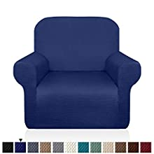 Granbest Thick Armchair Slipcovers for Living Room Stylish Pattern Chair Covers Stretch Jacquard Sofa Slipcover for Dog Pet Anti-Slip Furniture Protector Washable (Small, Navy Blue)