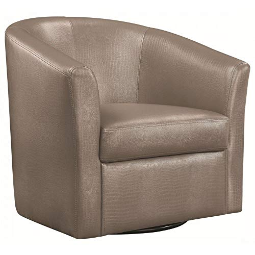 Swivel Barrel Chair - Coaster 902726-CO Faux Leather Upholstered Swivel Accent Chair, Champagne