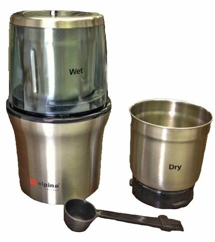 Alpina SF-2814 Wet & Dry Coffee Wet and Dry Spice Grinder 220 Volt, Small, Silver (Not for USA) by alpina