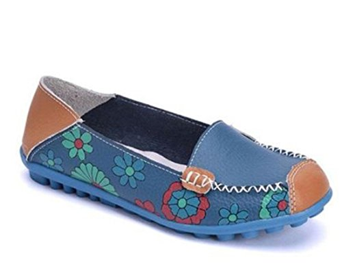 IF FEEL Womens Casual Walking Slip-On Loafers Floral Print Moccasins Driving Flat Shoes (10 B(M) US, Blue)