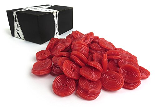 Gerrit's Broadway Strawberry Licorice Wheels, 2 lb bag in a BlackTie Box