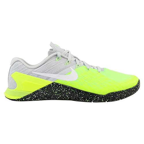 Nike Men's Metcon 3 Pure Platinum/Black/Volt Green Training Shoe 11.5 Men US