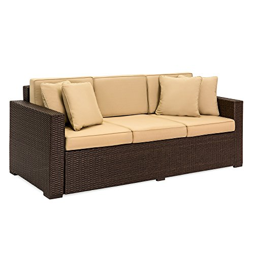 Best Choice Products 3-Seat Outdoor Wicker Sofa Couch Patio Furniture w/ Steel Frame and Removable Cushions - Brown