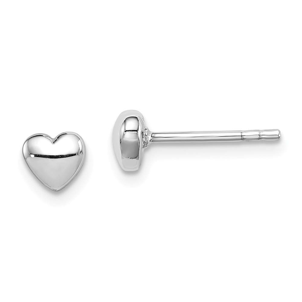 Diamond2Deal 925 Sterling Silver Rhodium Plated Heart Post Earrings