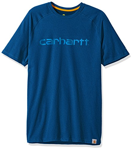 Carhartt Men's Force Cotton Delmont Graphic Short Sleeve T Shirt (Regular and Big & Tall Sizes), Light Huron Heather, - T-shirt Carhartt Work Dry