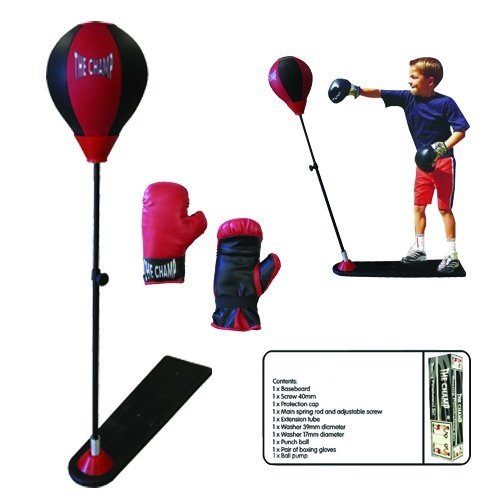 The Champ Deluxe Kids Boxing Punch Stand Set with Punching Bag a Pair of Gloves and Air Pump Adjustable Height Ages 5+ Fun Toy for Kids