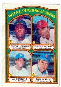 1972 Topps baseball card #93 1971 NL Pitching Leaders Steve Carlton Ferguson Jenkins Tom Seaver Al Downing