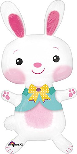 LuftBalloons 56 Inch AirWalkers Happy Bunny Balloon (Bunny Balloon)