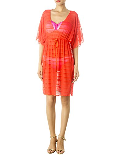 iB-iP Women'S Drawstring Sheer Plunge Bikini Swimsuit Mid-Thigh Tunic Cover-Up, Size: M, Coral
