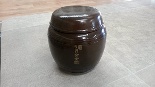 Korean Traditional Pottery Pot Jar Onggi Hangari Ceramics with Lid, 0.26 gal 1000ml 1L (Korean Ceramic Pot)