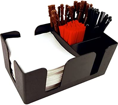 KegWorks Bar Caddy Organizer Accessories Kit – Holder With Straws, Napkins, Stirrers